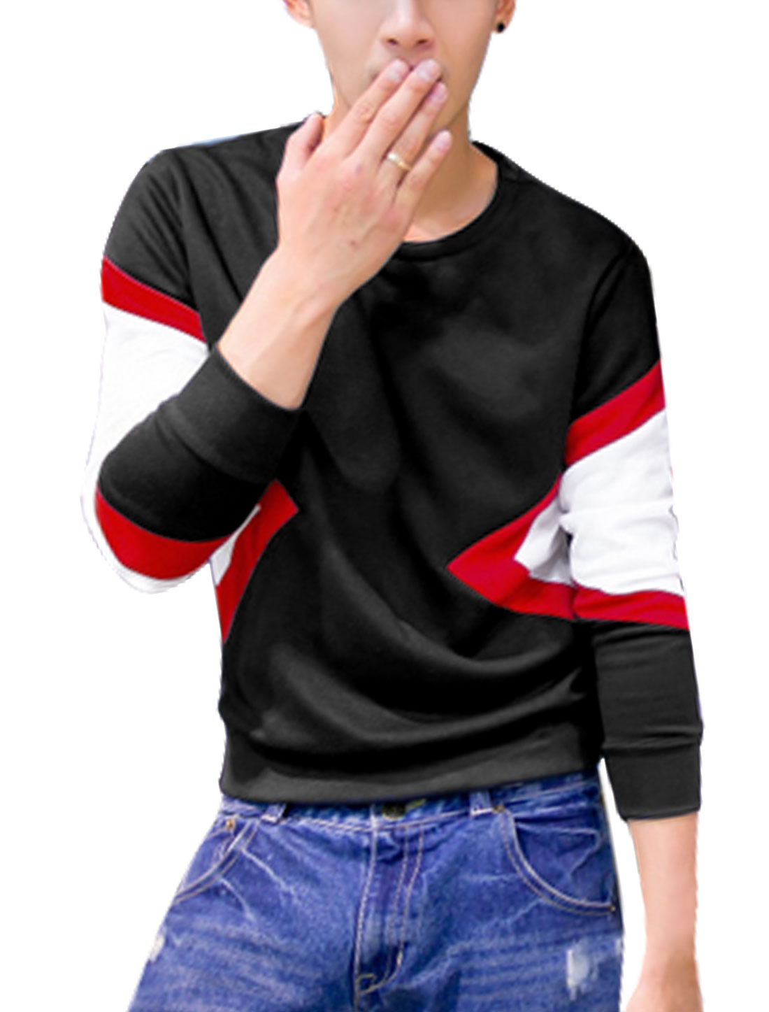 Men Crew Neck Long Sleeve Color Block Sweatshirt Black M