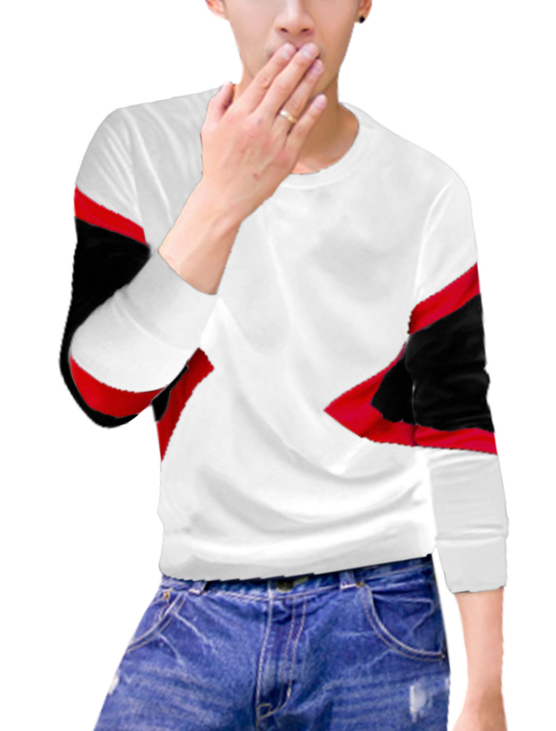 Men Crew Neck Pullover Color Block Sweatshirt White M