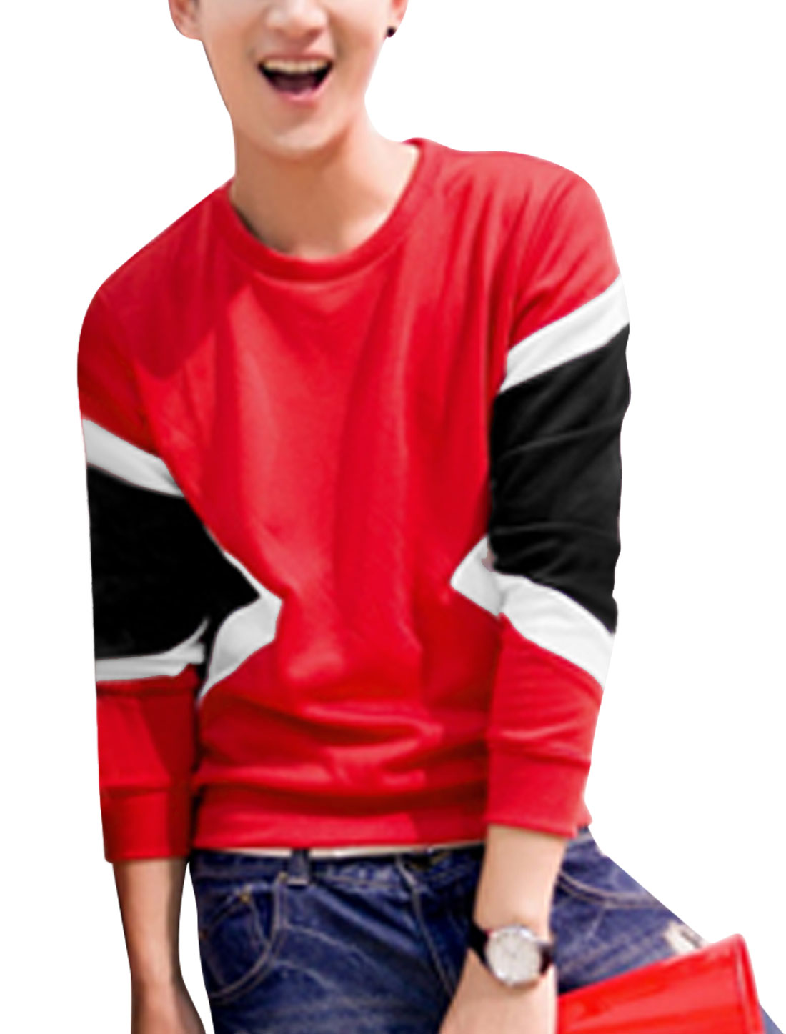 Men Crew Neck Long Sleeve Contrast Color Casual Sweatshirt Red M