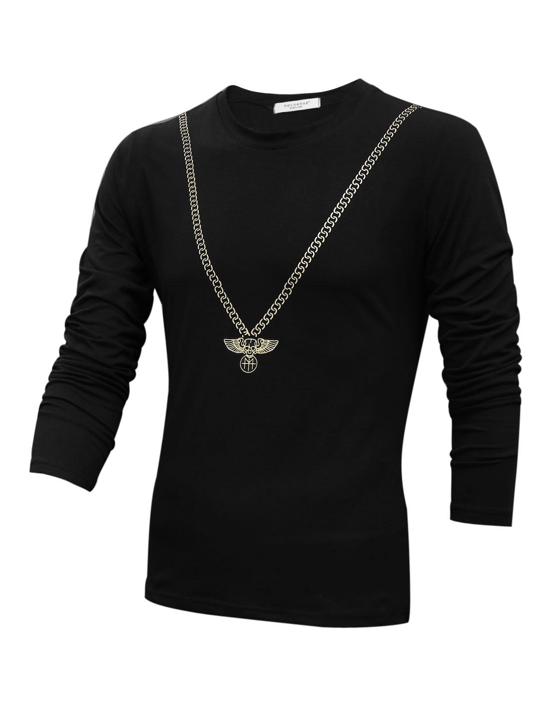 Cozy Fit Round Neck Soft Stylish Shirt for Men Black M