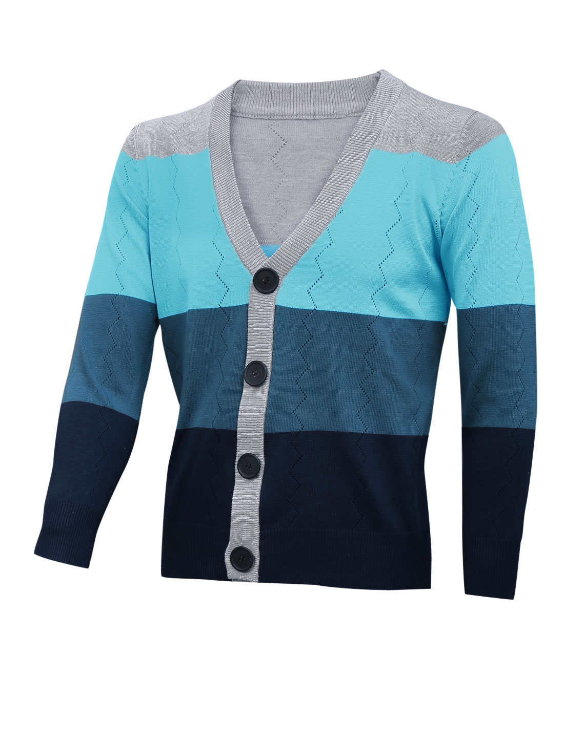 Men Color Block Single Breasted Cozy Fit Cardigan Baby Blue Light Gray M