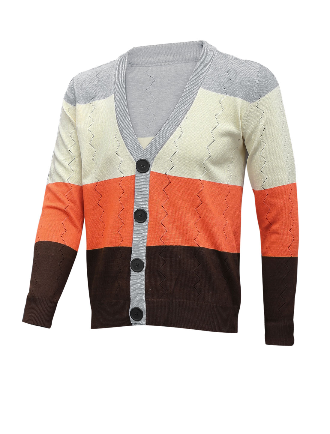 Men Color Block Ribbed Cuff w Hem Fashion Cardigan Orange Light Gray M