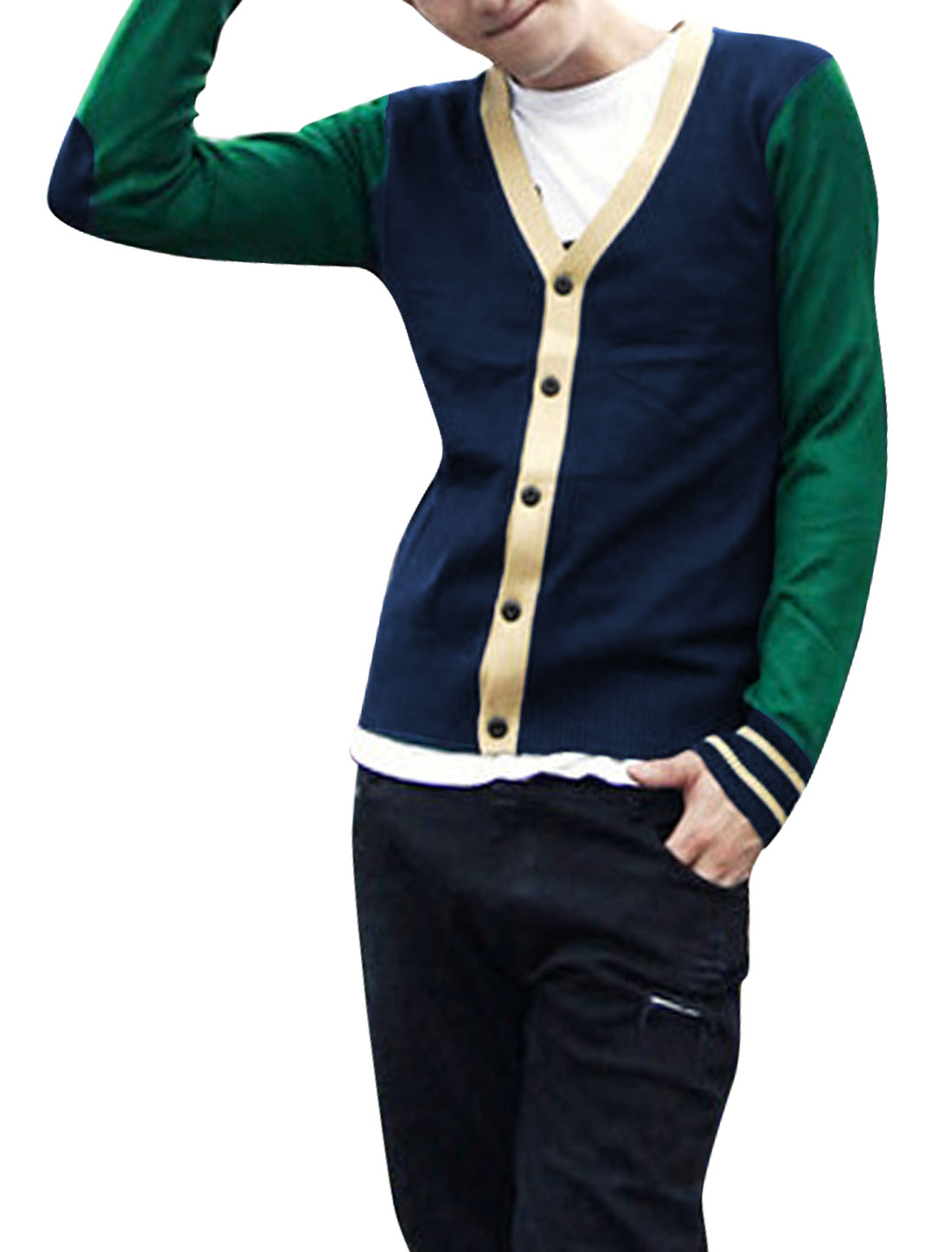 Men Long Sleeves Color Block Button Up Cardigan Sweater Green Navy Blue M
