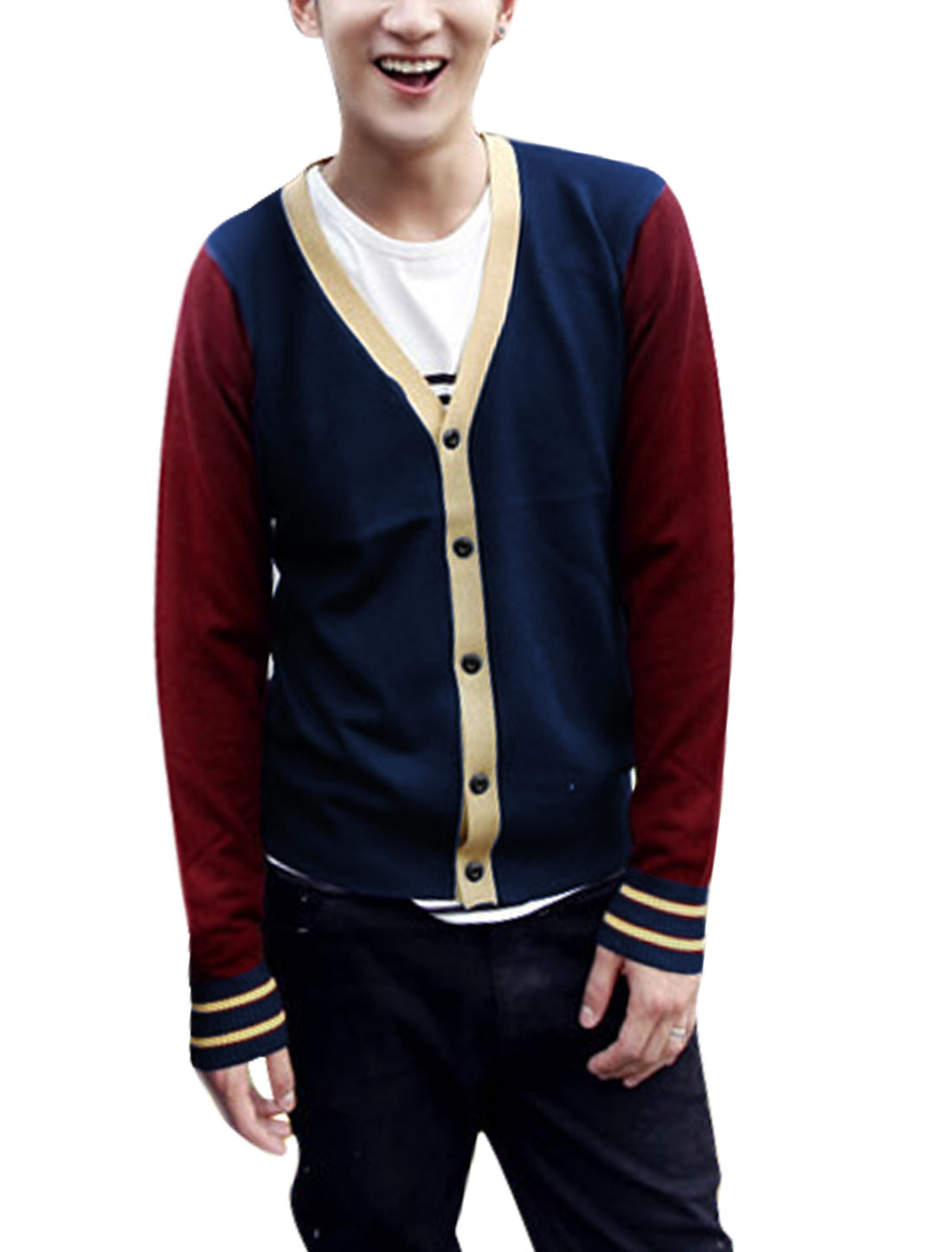 Man Contrast Color Long Sleeves Button Up Burgundy Navy Blue Cardigan Sweater M