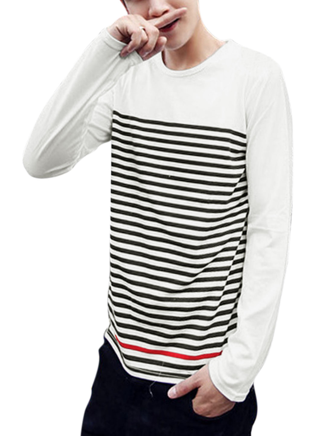 Men Bar Striped Round Neck Long Sleeve Casual T-Shirt White M