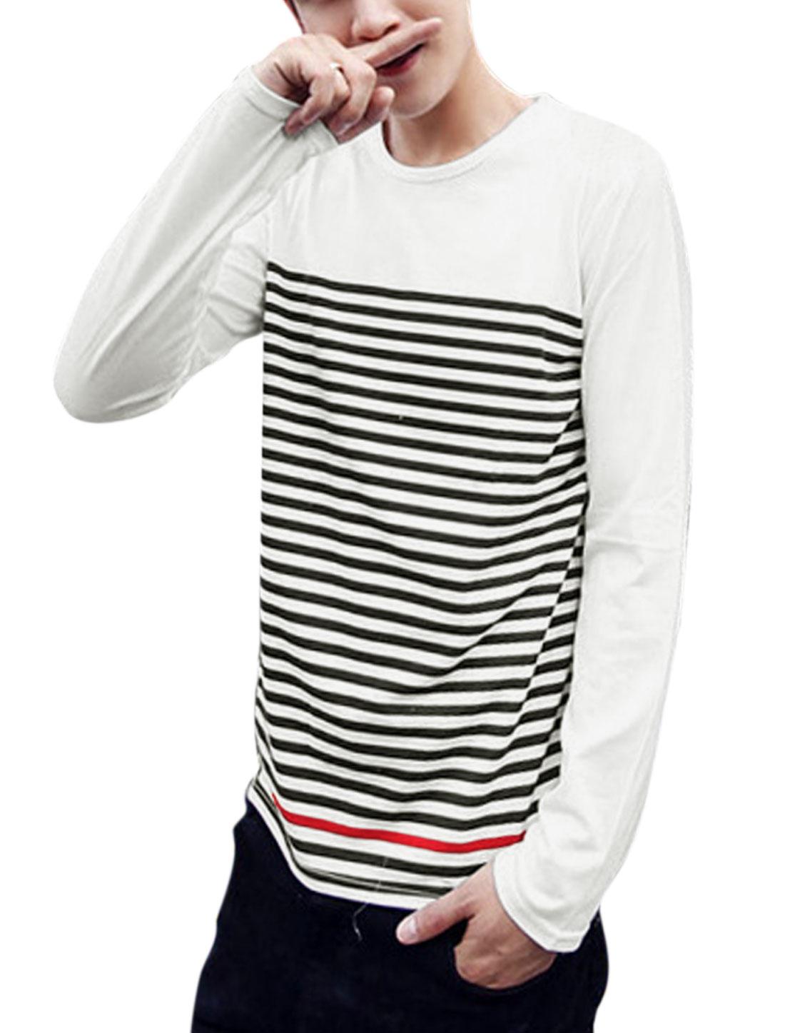 Men Bar Striped Round Neck Long Sleeve Casual T-Shirt White M