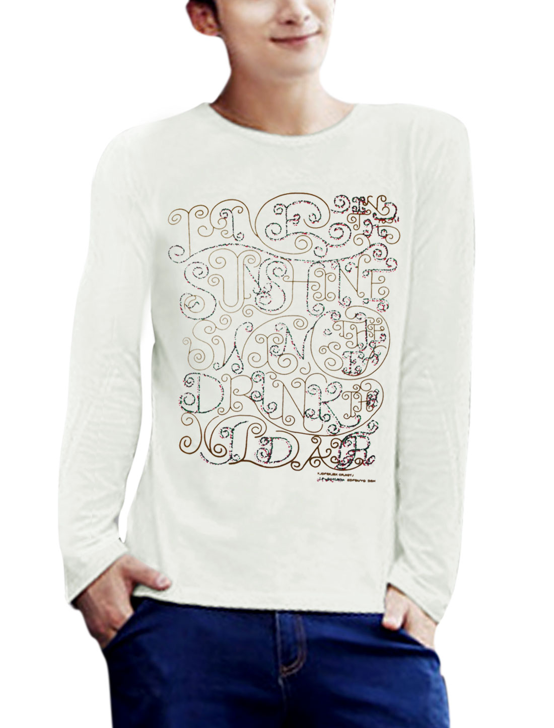 Men Round Neck Long Sleeve Letters Prints Casual T-Shirt White M