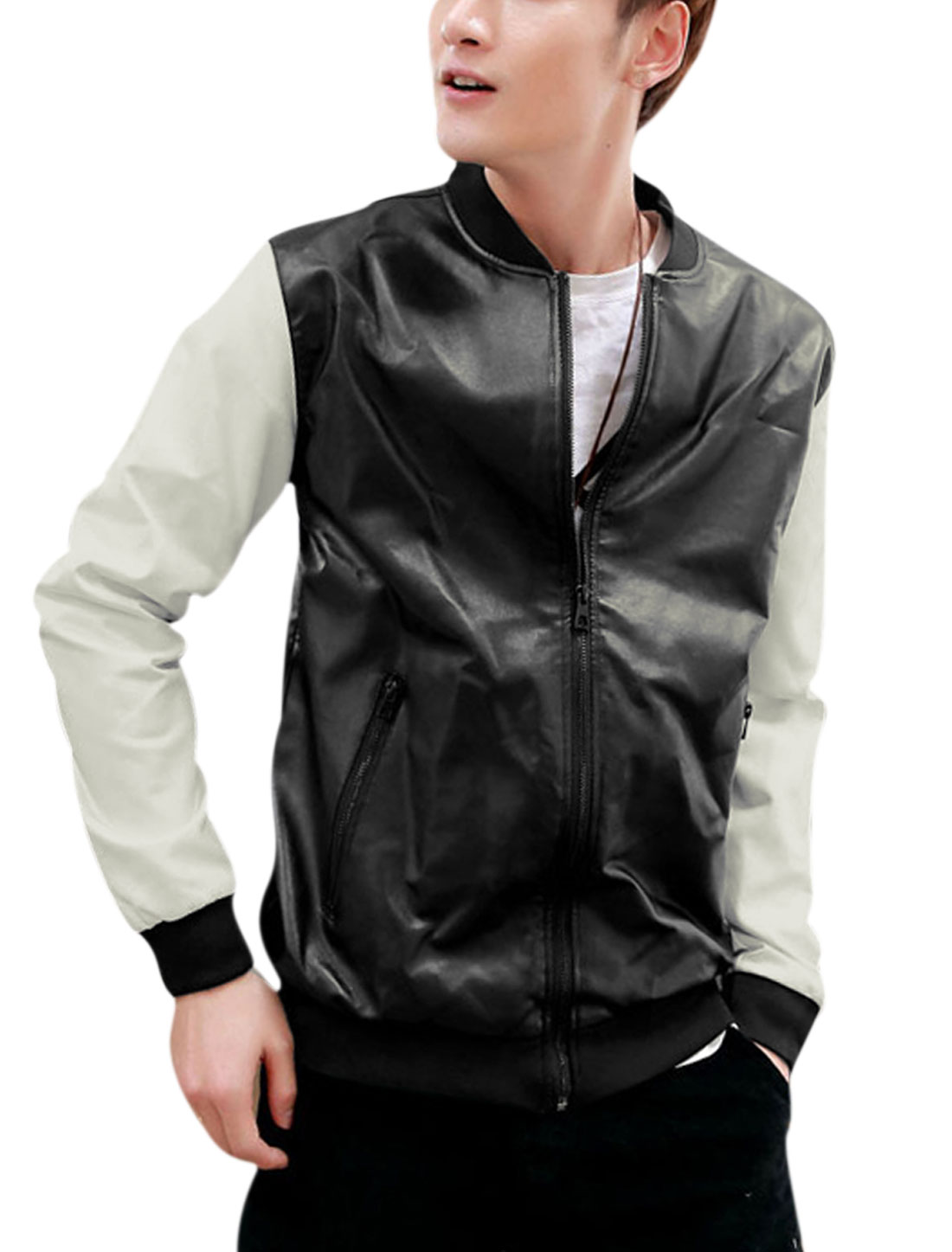 Men Stand Collar Long Sleeve Color Block Imitation Leather Jacket Black M