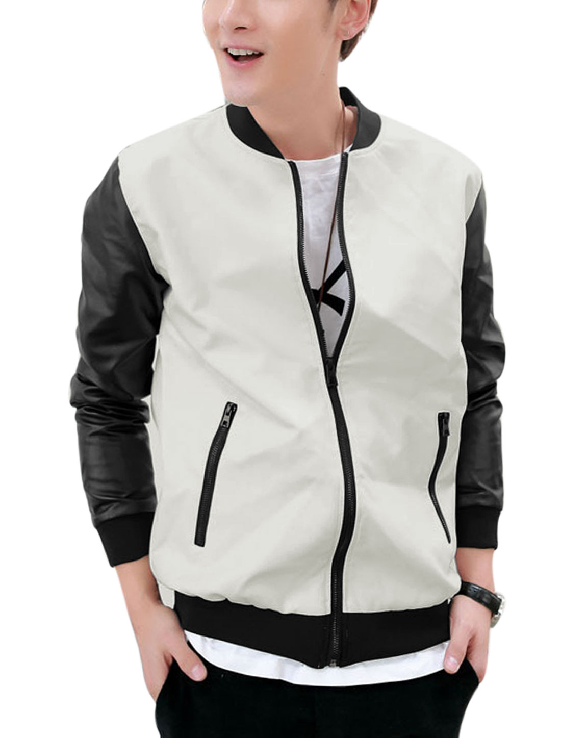 Men Stand Collar Long Sleeve Contrast Color Imitation Leather Jacket White M