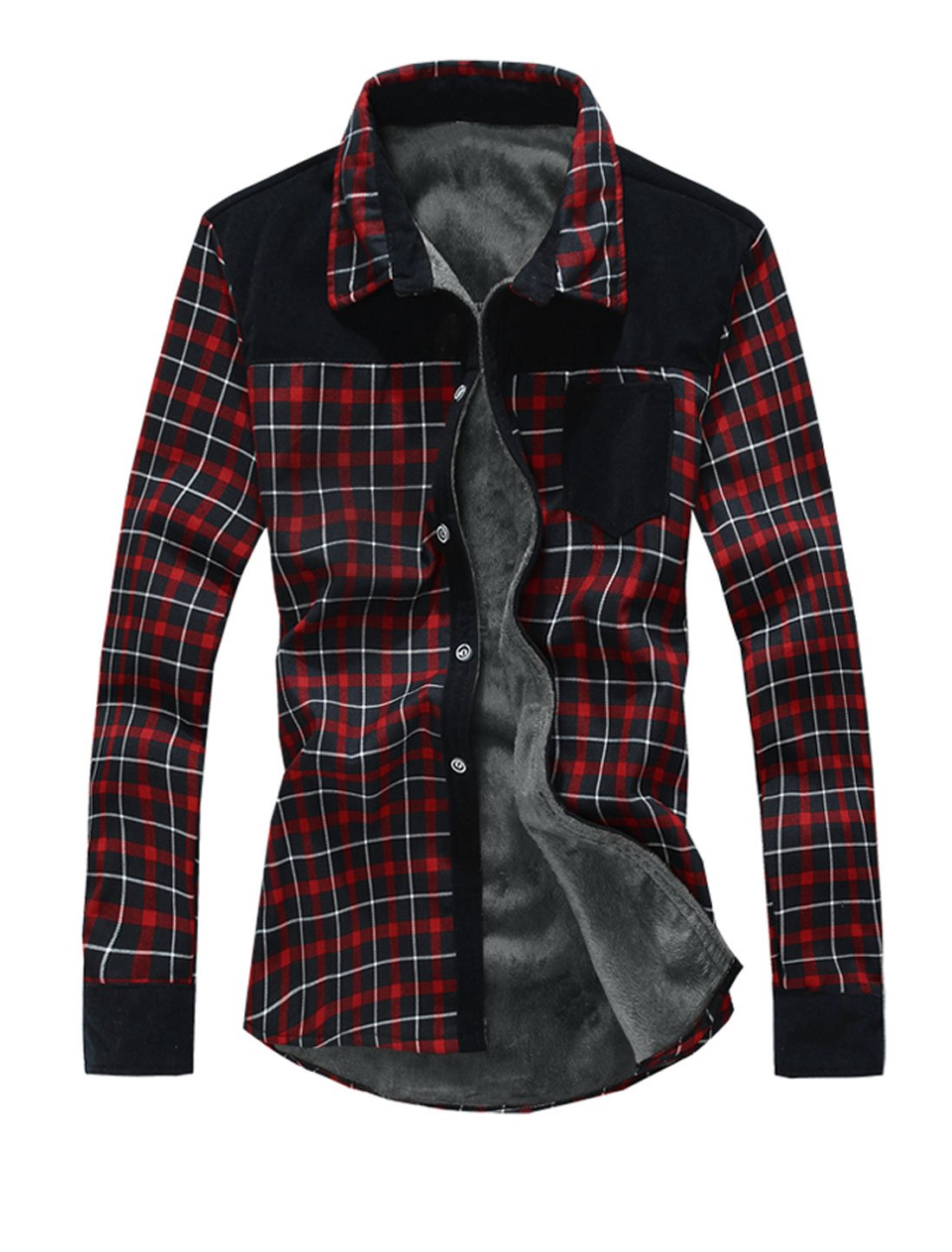 Men Plaids Pattern Fleece Inside Fashion Shirt Red Black M