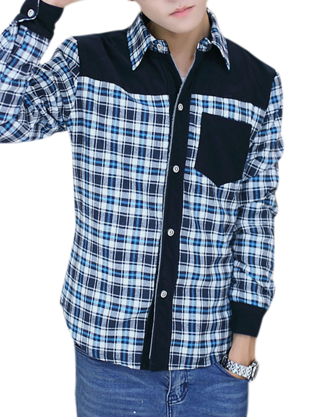 Men Checkered Pattern Corduroy Panel Fleece Lining Trendy Shirt Blue White M