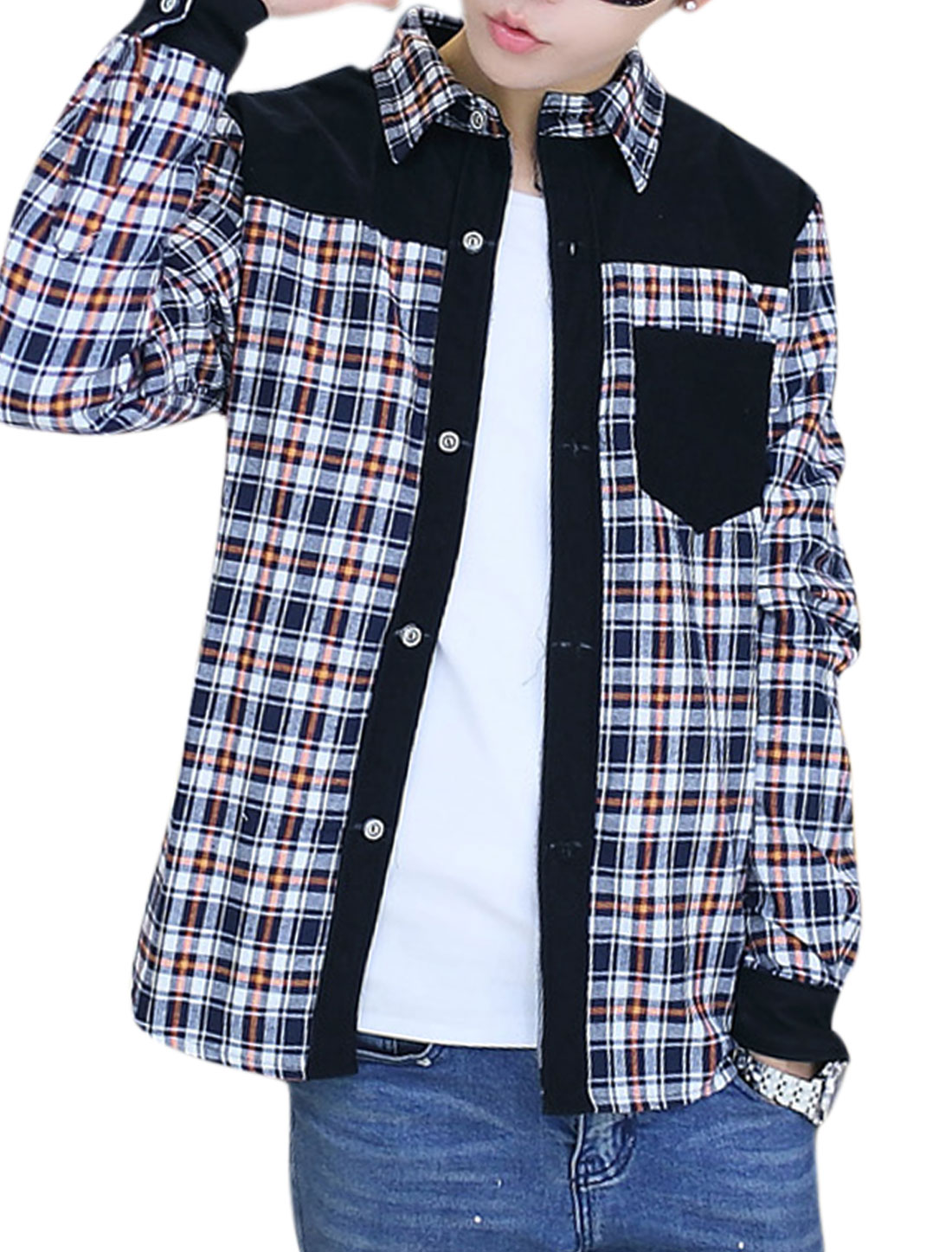 Men Checkered Pattern Contrast Shoulder Fleece Lining Shirt Orange White M