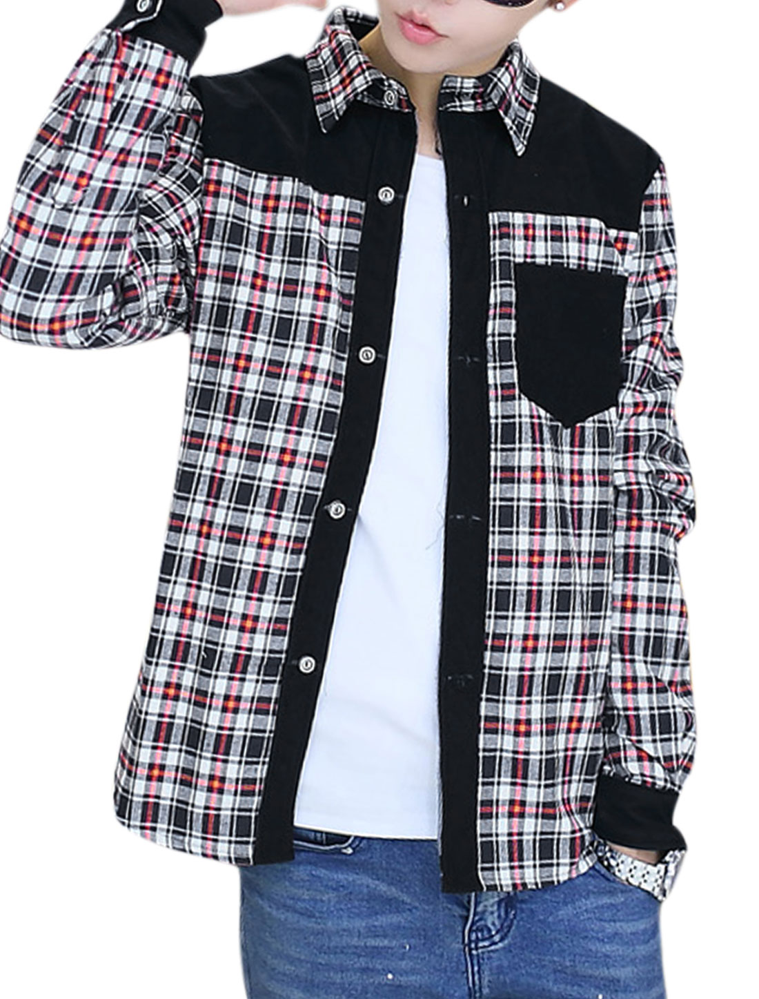 Men Checkered Pattern Long Sleeves Fleece Lining Shirt Red White M