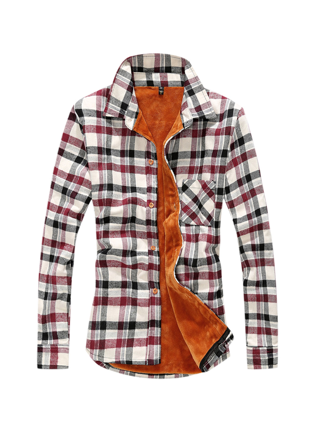 Man Burgundy Point Collar Long Sleeves Plaids Single Breasted Bodywarmer Shirt M
