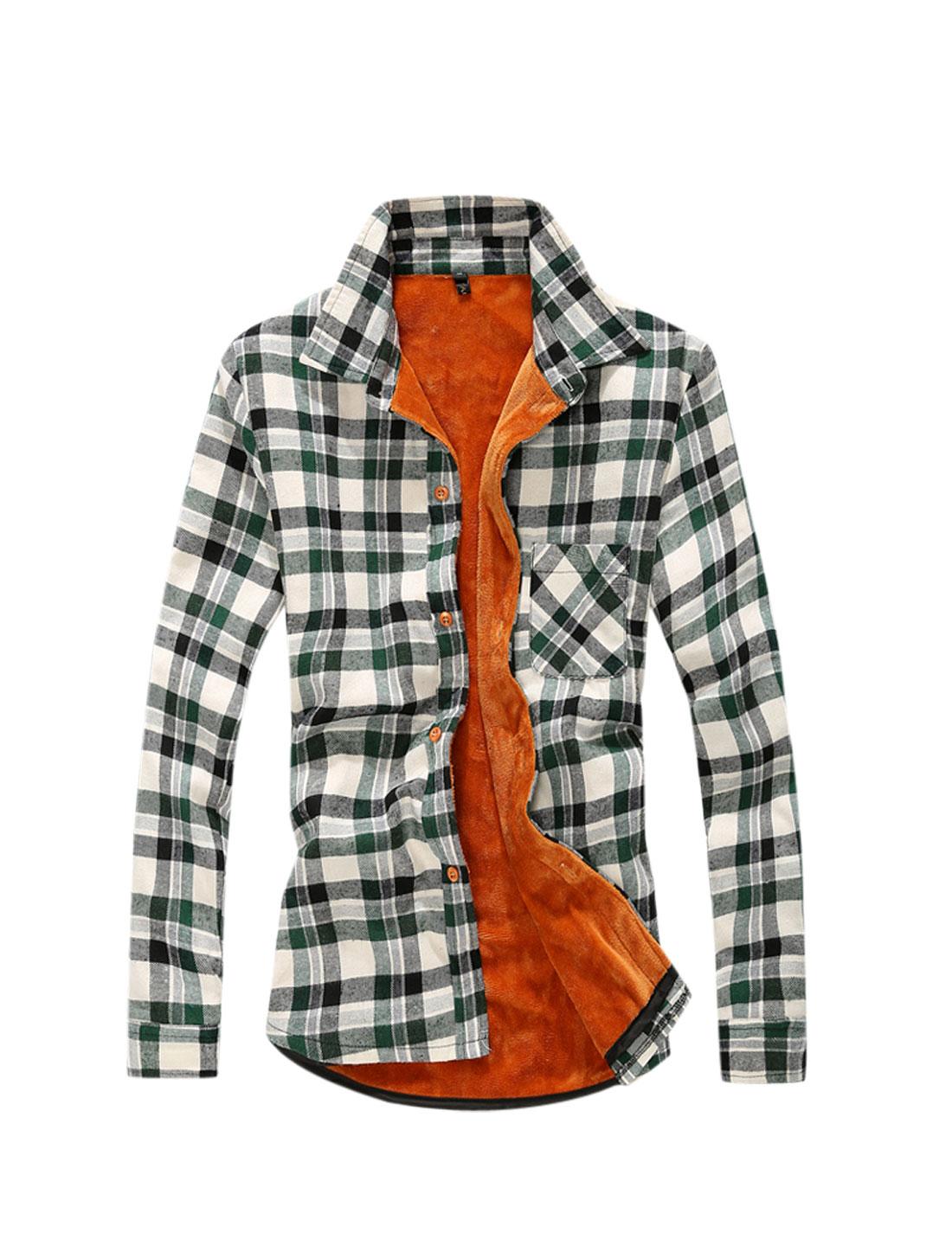 Man Dark Green Point Collar Full Sleeves Plaids Single Breasted Shirt M