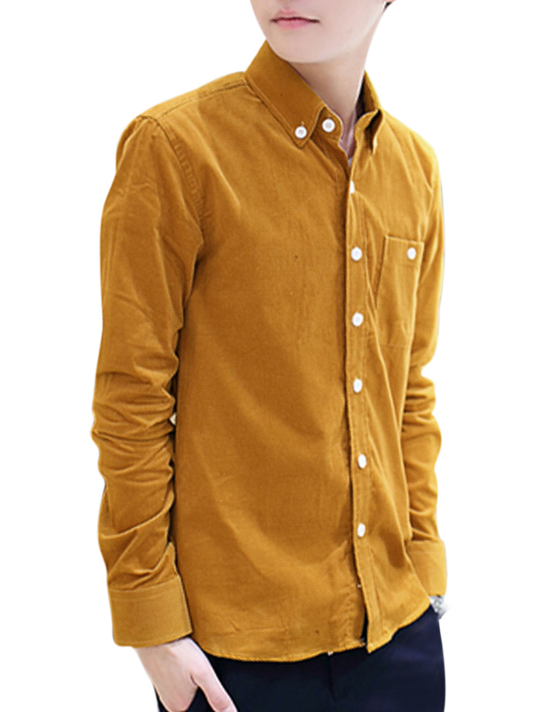 Men Point Collar Single Breasted Casual Corduroy Shirt Camel M