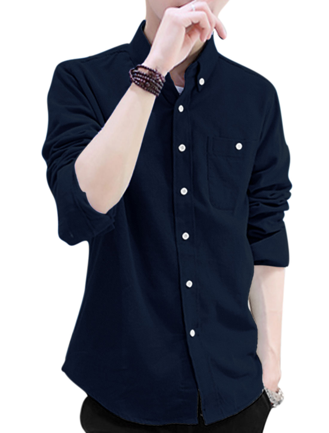 Men Point Collar One Pocket Chest Fashion Corduroy Shirt Navy Blue M