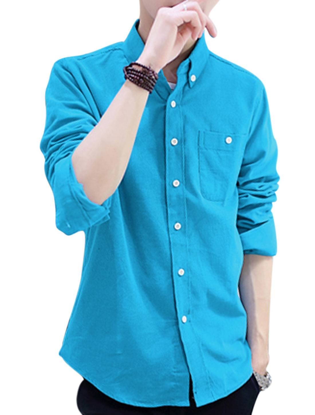 Men Point Collar Long Sleeve Button Cuffs Casual Corduroy Shirt Baby Blue M