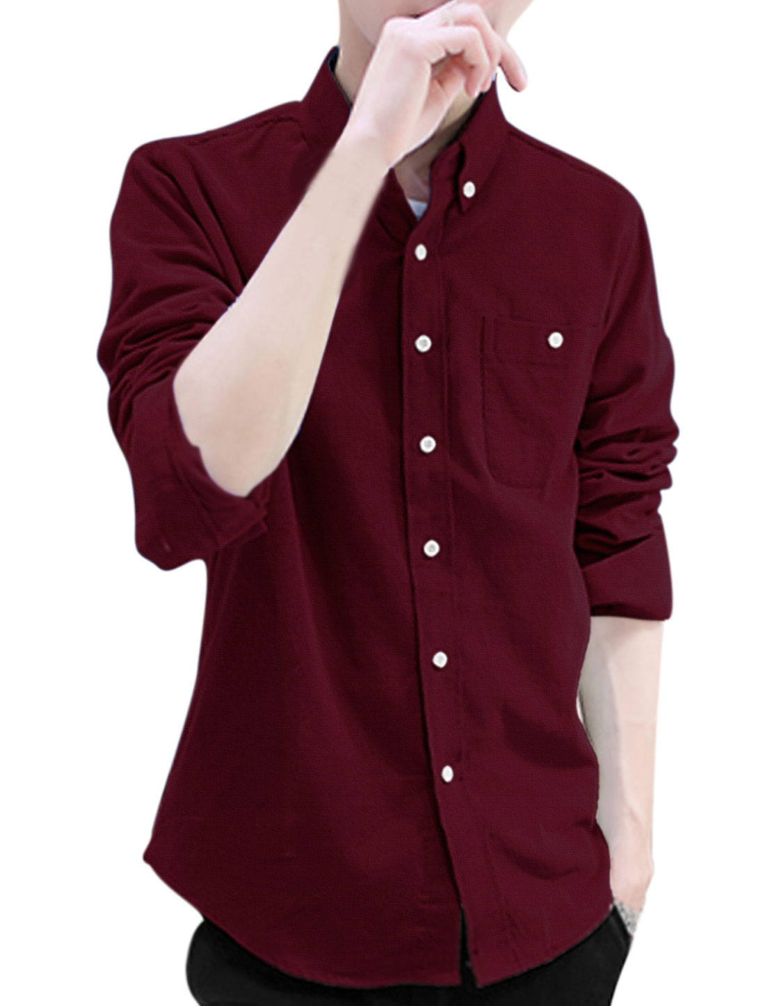 Men Button Closure Front Fleece Inside Stylish Corduroy Shirt Burgundy M