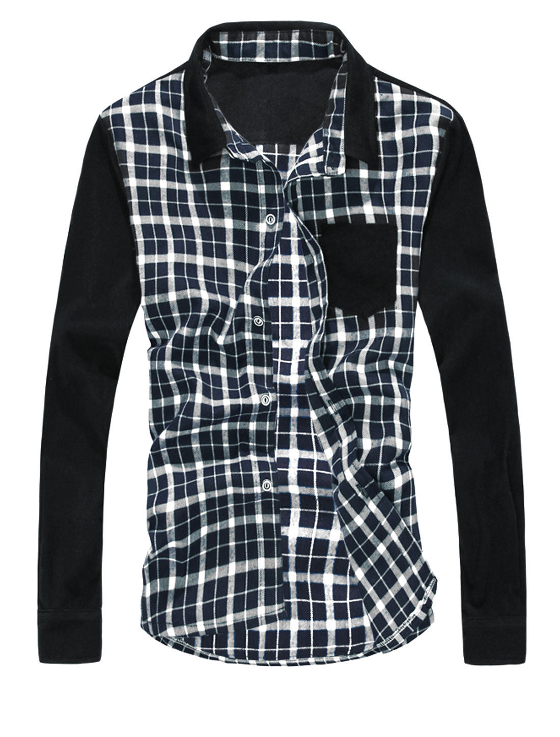 Men Checkered Pattern Chest Pocket Contrast Long Sleeves Shirt White Black M
