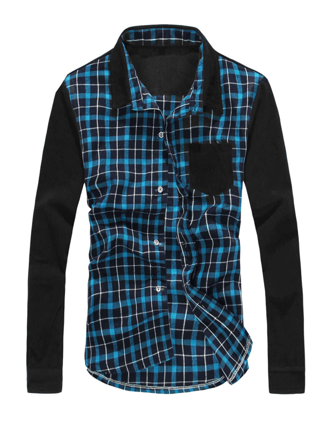 Men Checkered Pattern Chest Pocket Corduroy Patched Sleeves Shirt Blue Black M