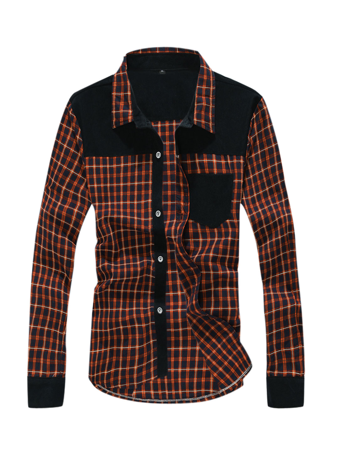 Men Checkered Pattern Corduroy Panel Contrast Shoulder Shirt Orange Navy Blue M