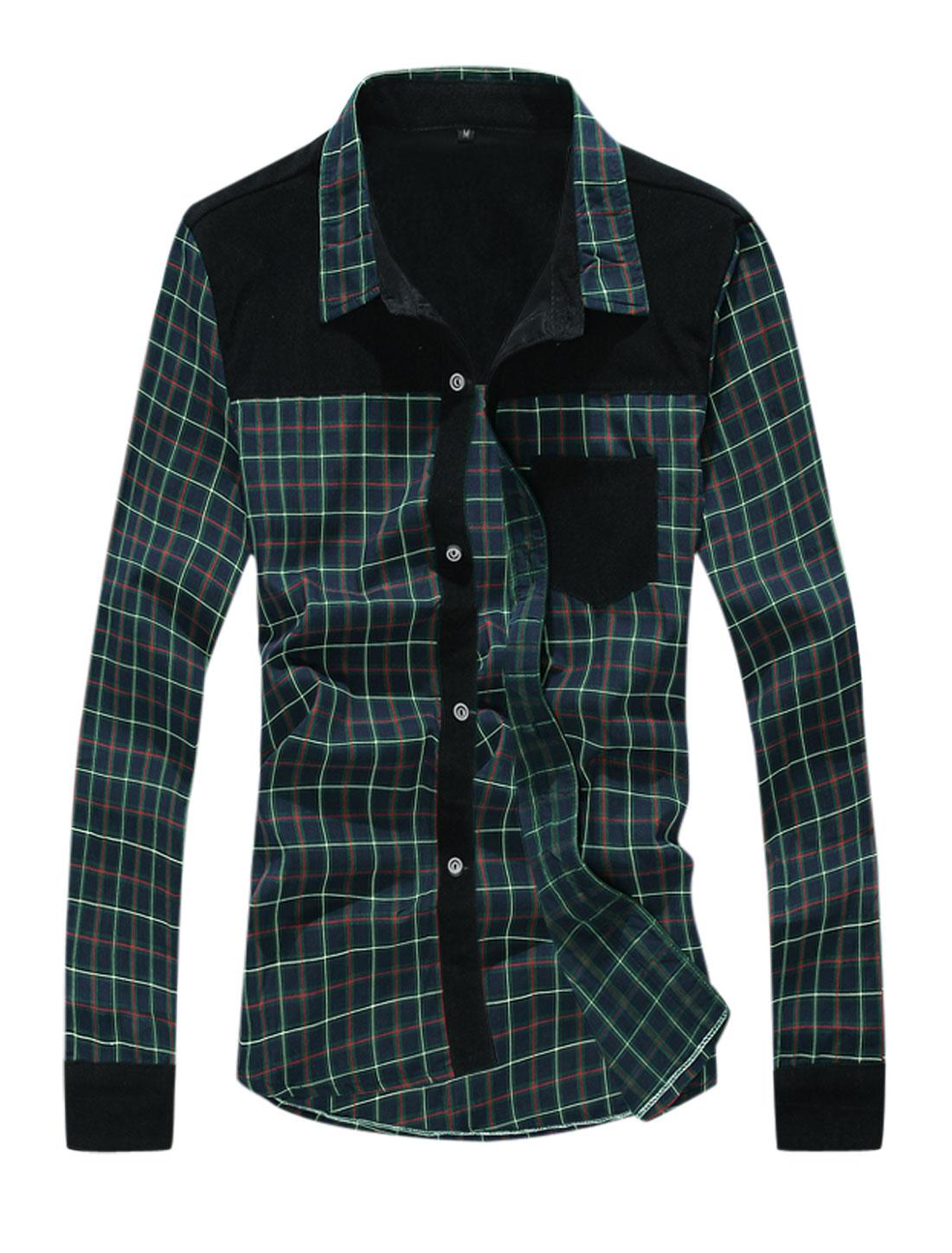 Men Checkered Pattern Corduroy Panel Chest Pocket Shirt Green Navy Blue M