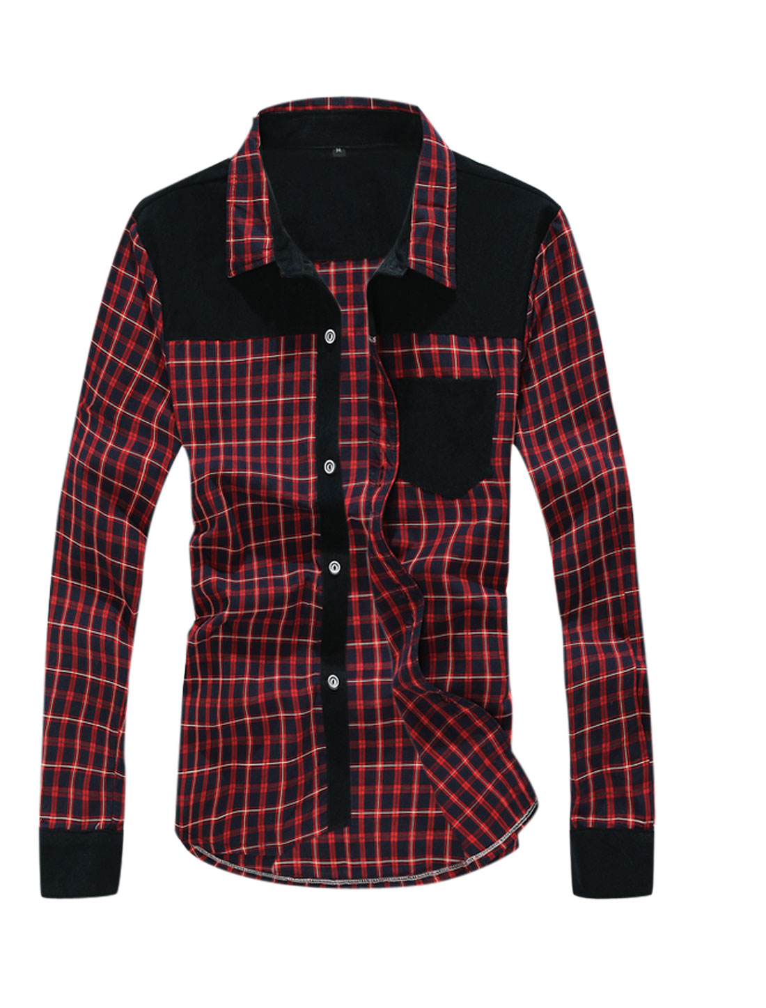 Men Checkered Pattern Single Breasted Chest Pocket Shirt Red Navy Blue M