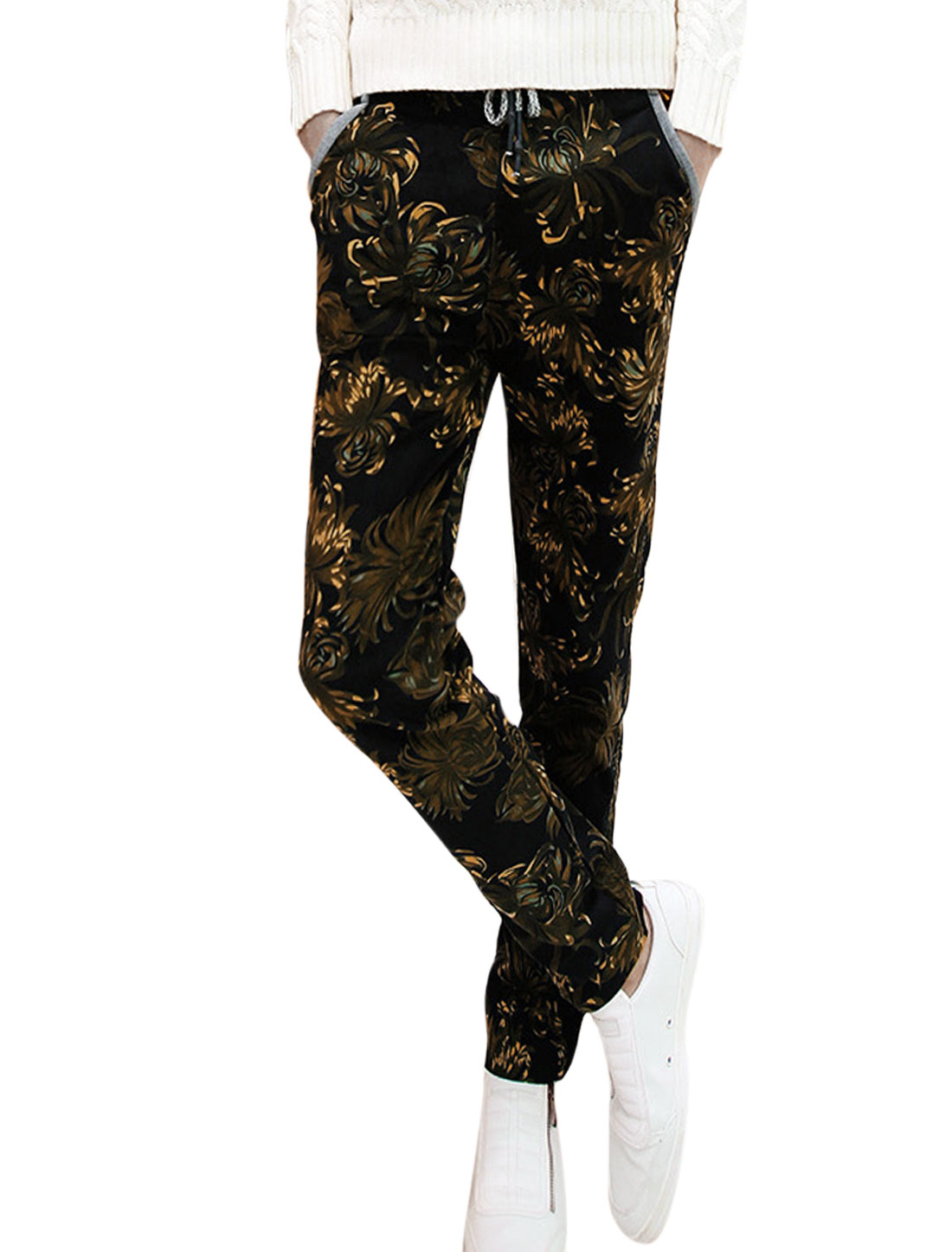 Men Drawstring All Over Sunflower Pattern Casual Pants Black W30