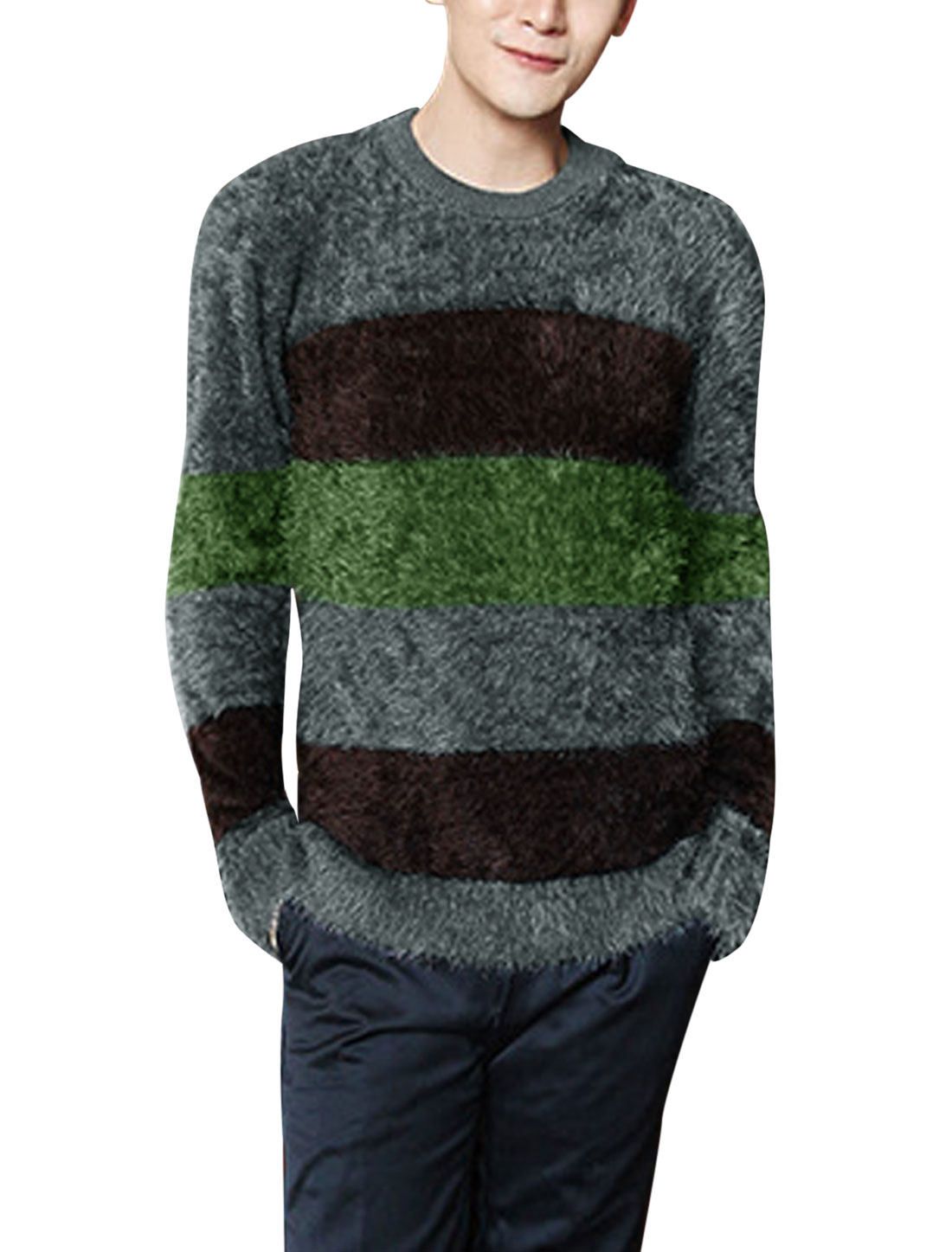 Men Long Sleeve Round Neck Color Block Soft Casual Sweater Green M