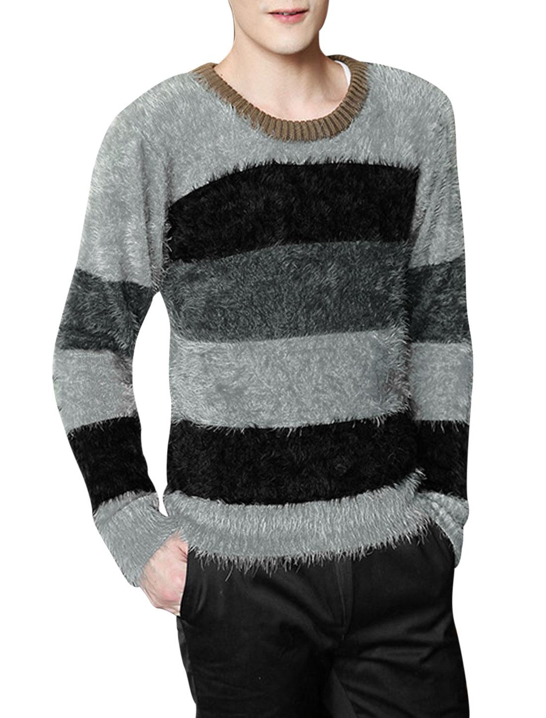 Men Round Neck Fashionable Leisure Shirt Black Light Gray M