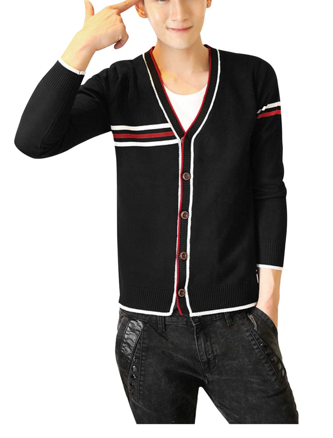 Men V Neck Single Breasted Stripe Detail Casual Cardigan Black M
