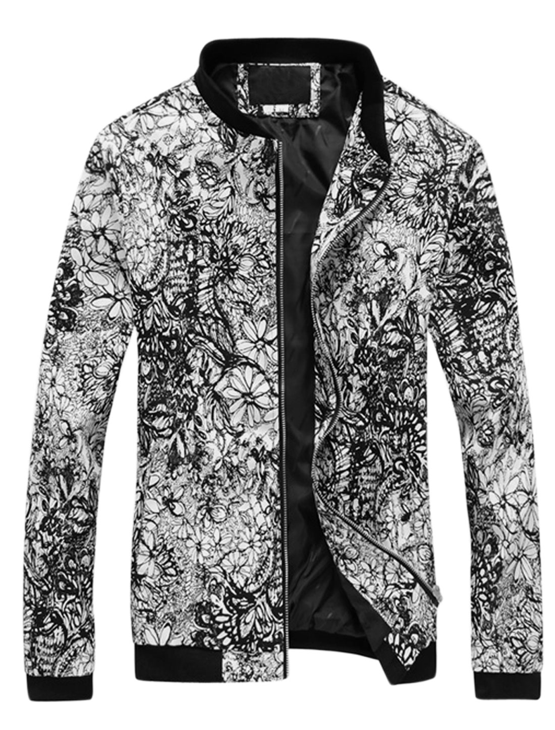 Men Floral Prints Zip Up Stand Collar Casual Jacket Black S
