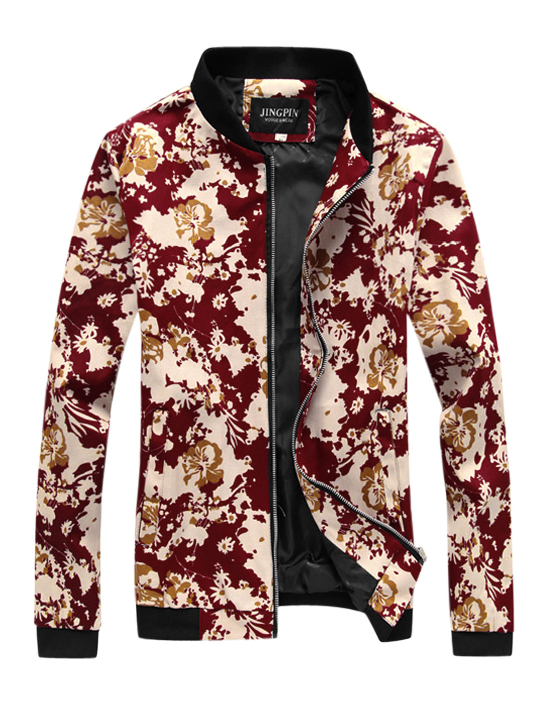 Men Floral Prints Stand Collar Zip Closure Casual Jacket Red S