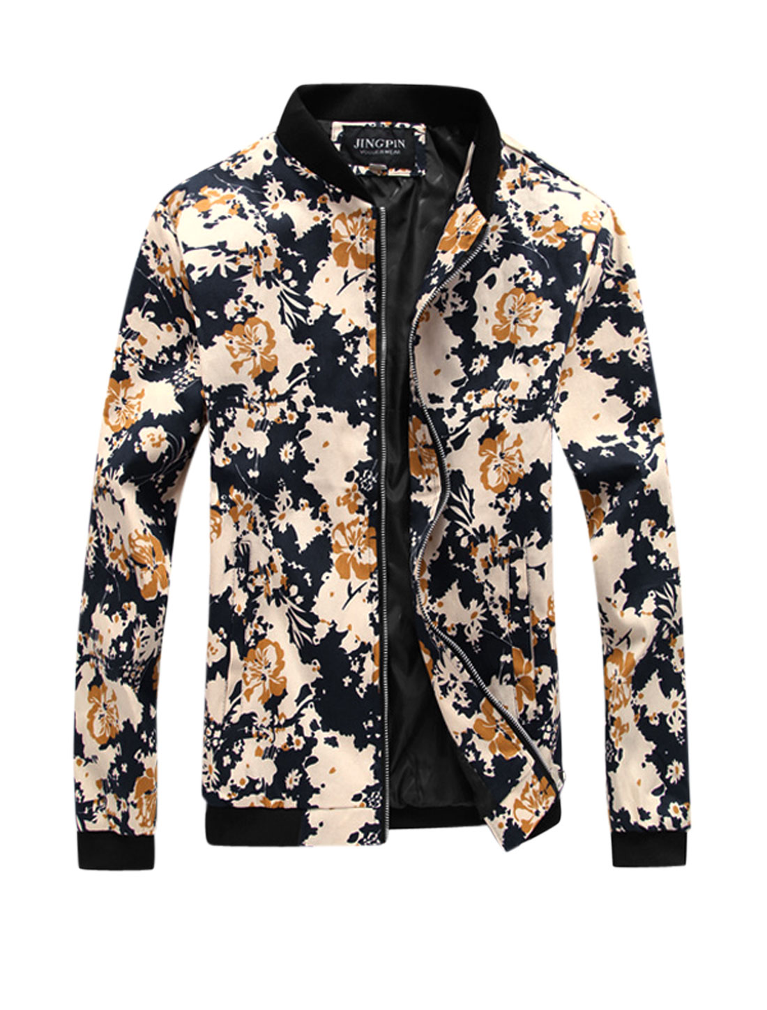 Men Floral Prints Long Sleeve Front Pockets Leisure Jacket Navy Blue S