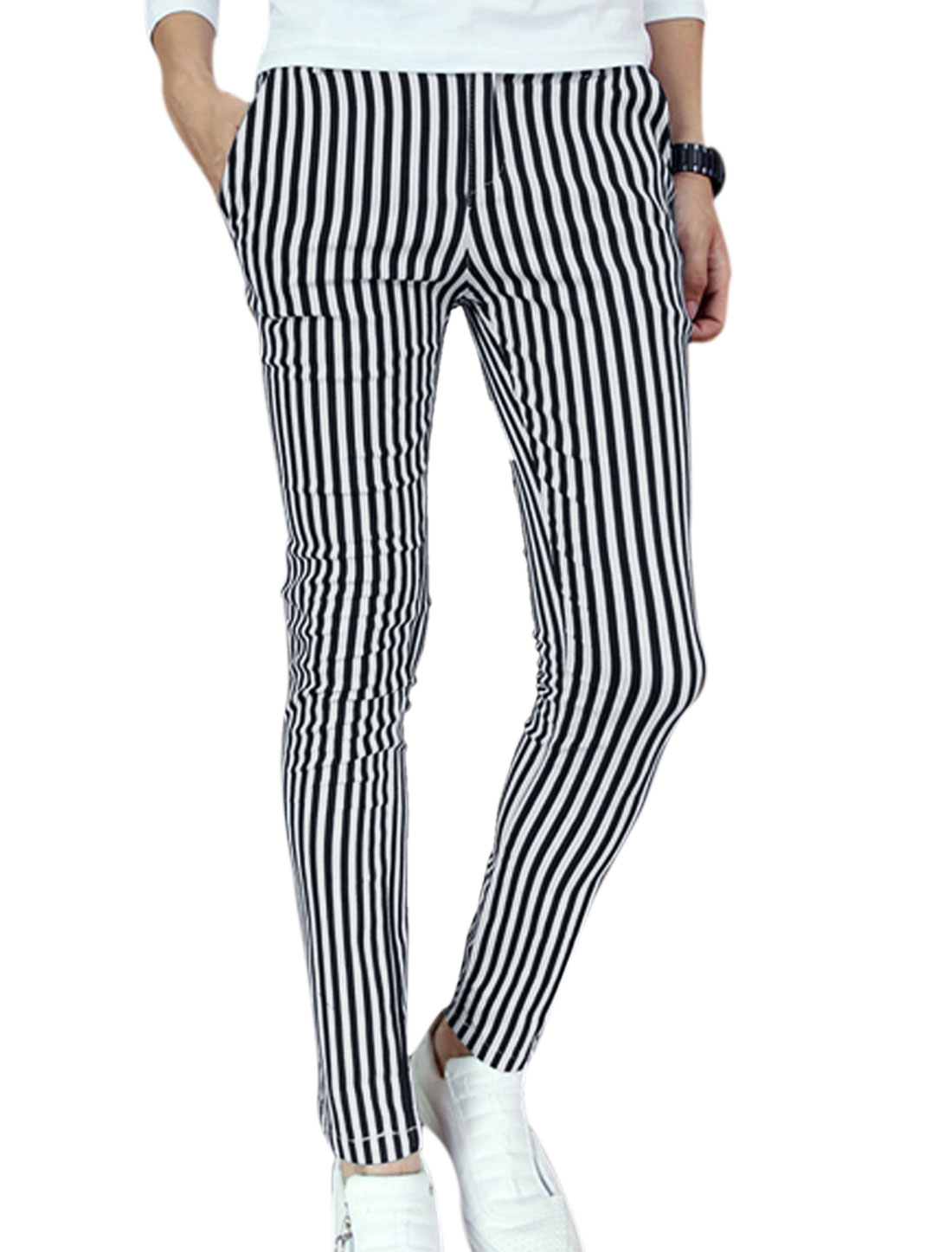 Men Two Hip Pockets All Over Vertical Stripes Print Casual Pants Black White W28