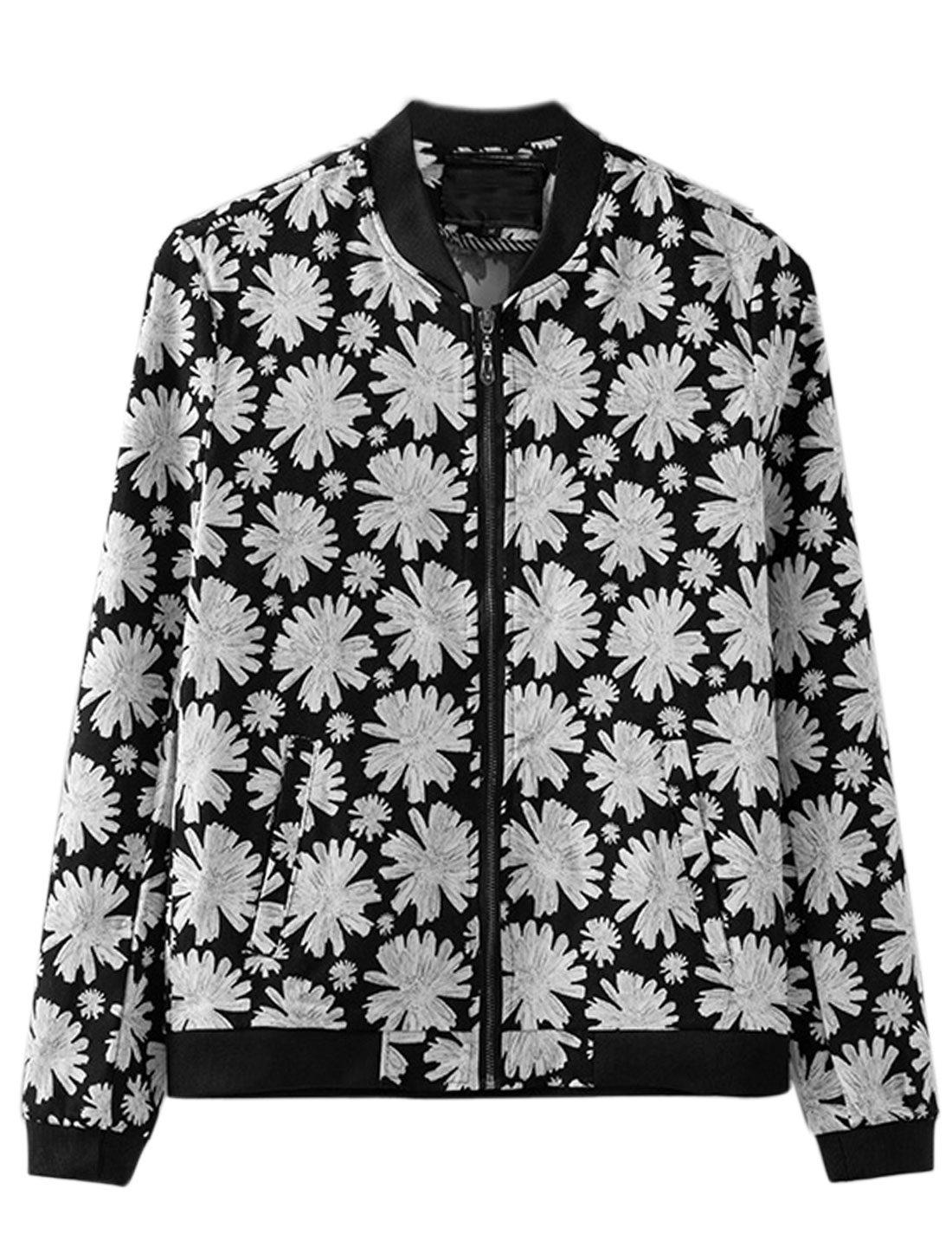 Men Stand Collar Long Sleeve Floral Prints Casual Jacket Black S