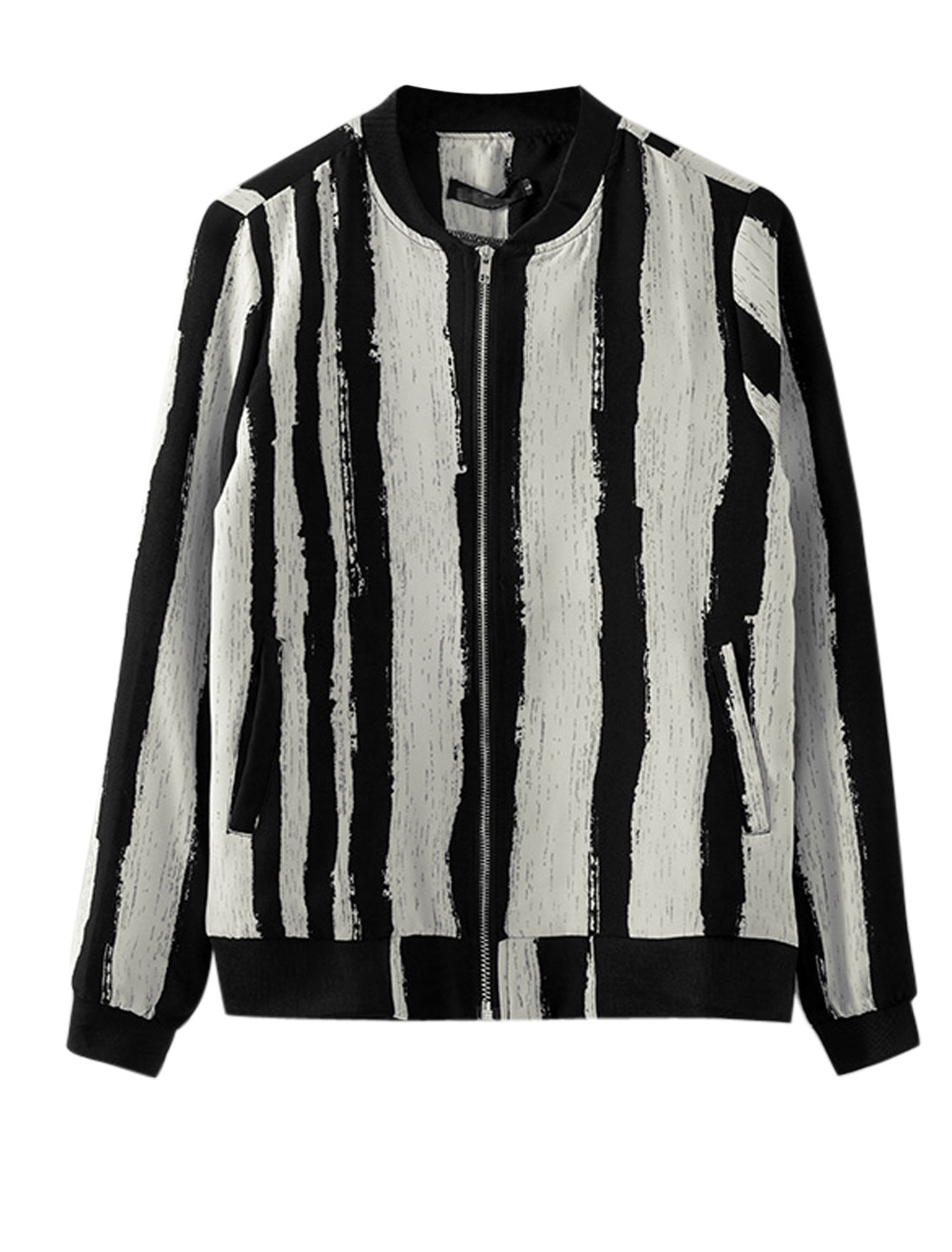 Man Beige Black Stand Collar Long Sleeves Zip Closure Stripes Casual Jacket M