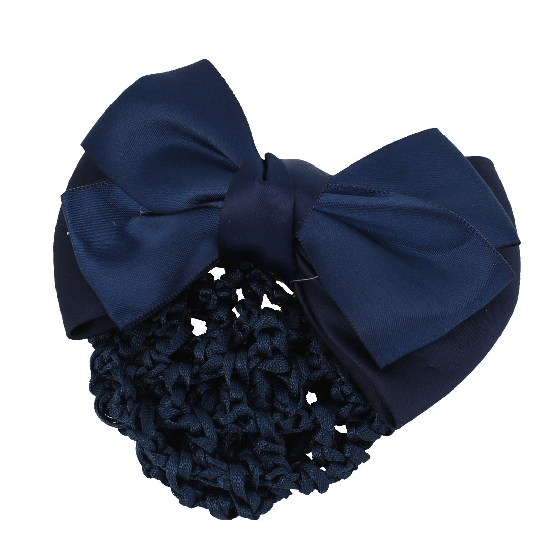 Ladies Bowknot Decor French Hairclip Hair Clip Snood Net Barrette Royal Blue