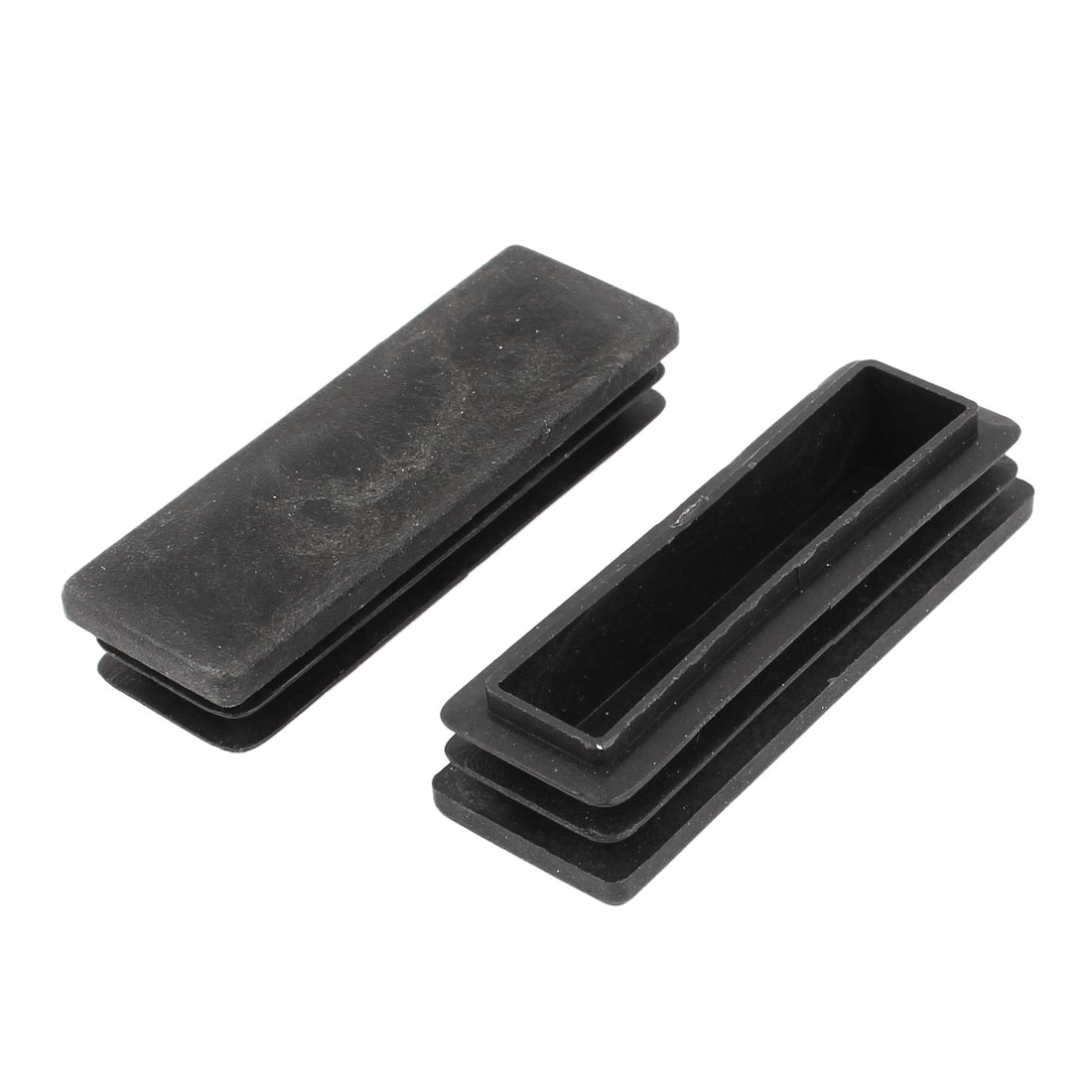 2 Pieces Black Plastic Rectangle Blanking End Caps Tubing Tube Inserts 250mm x 75mm