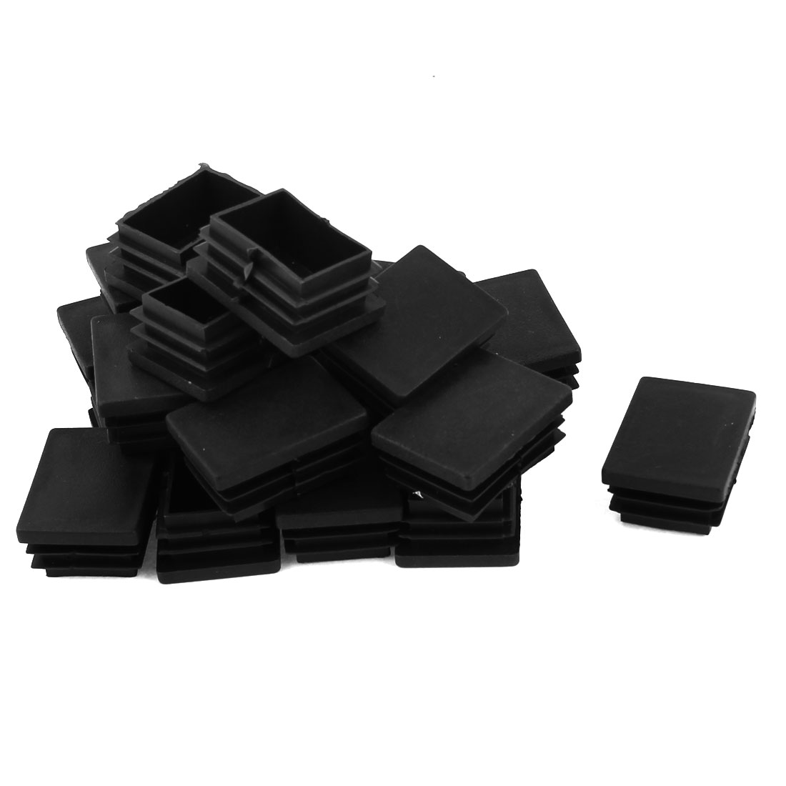 24 Pcs Black Plastic Rectangle Blanking End Caps Tubing Tube Inserts 30mm x 40mm