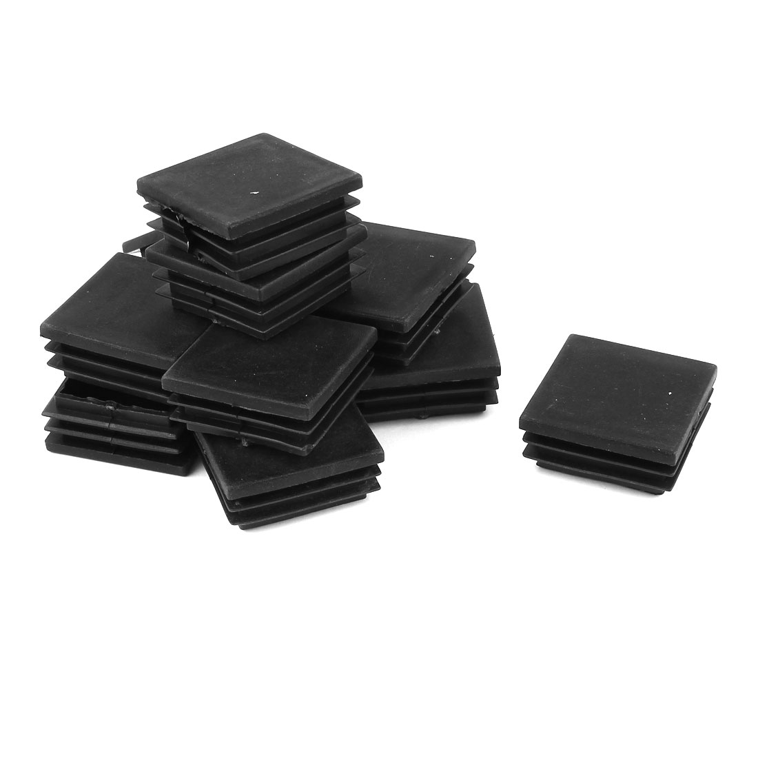 12 Pcs Black Plastic Square Blanking End Caps Tubing Tube Cover Inserts 45mm x 45mm