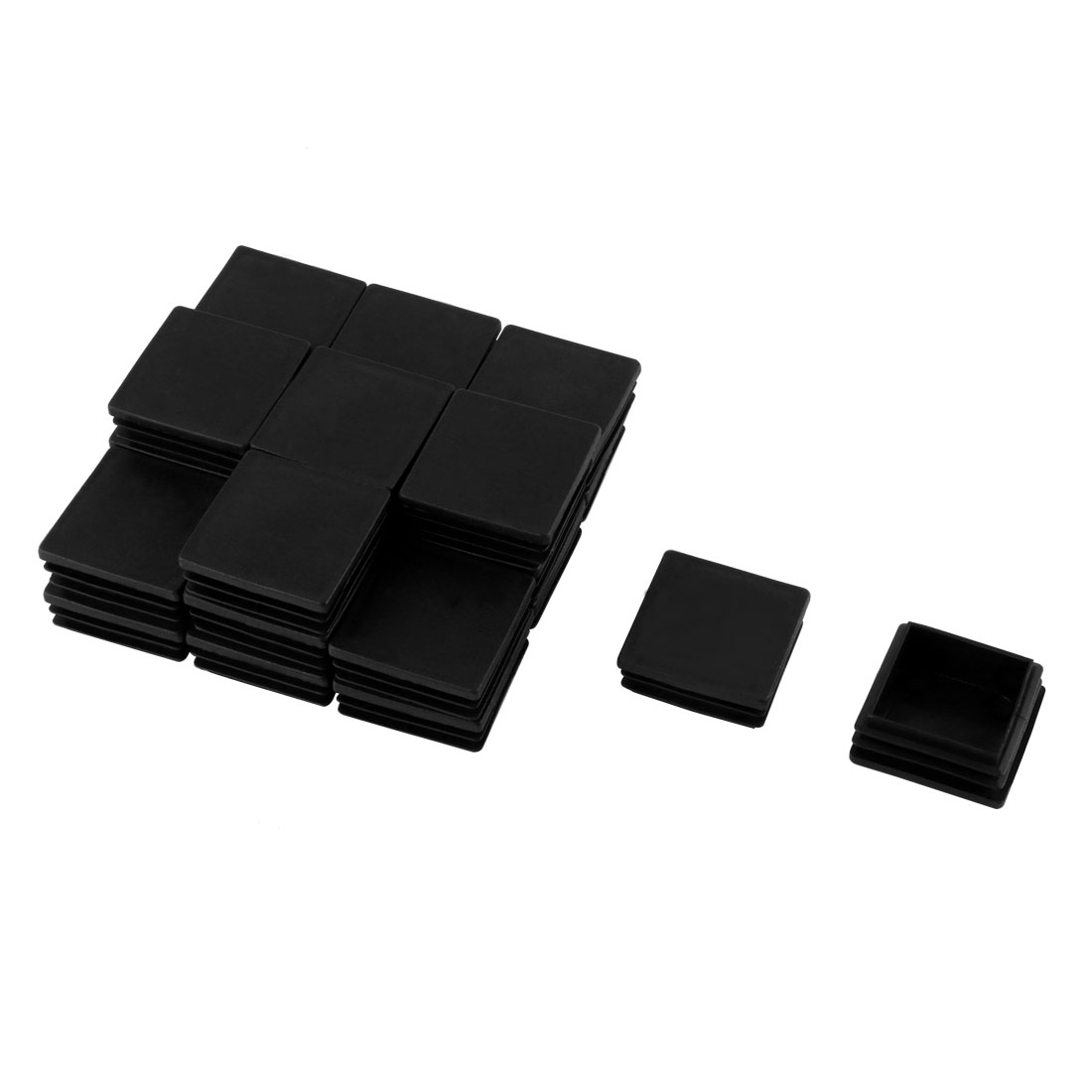24 Pcs Black Plastic Square Blanking End Caps Tubing Tube Cover Inserts 45mm x 45mm
