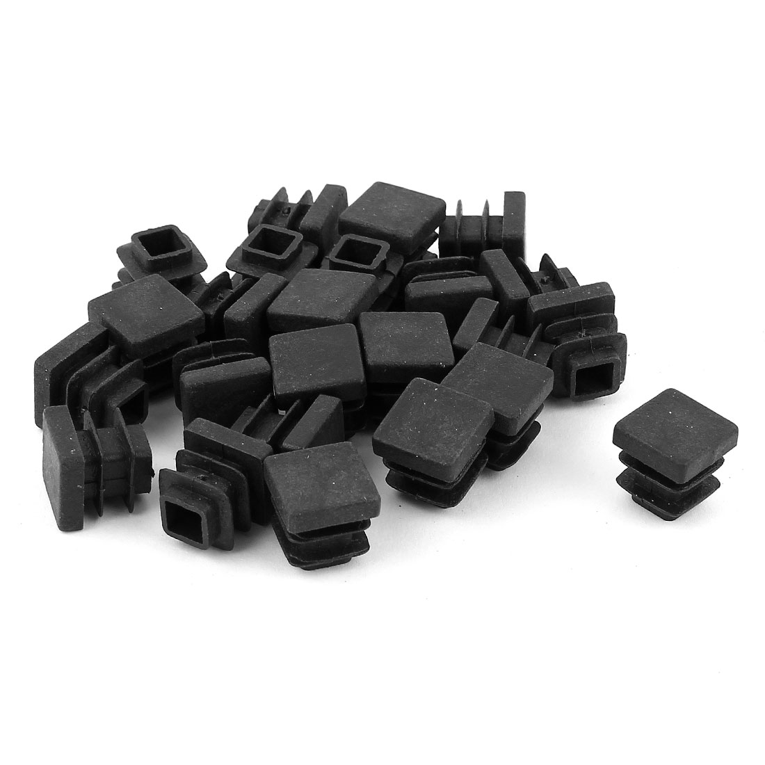 24 Pcs Black Plastic Square Blanking End Caps Tubing Tube Inserts 13mm x 13mm