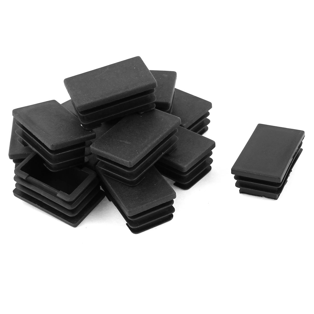 12 Pcs Black Plastic Rectangle Blanking End Caps Tubing Tube Inserts 25mm x 40mm
