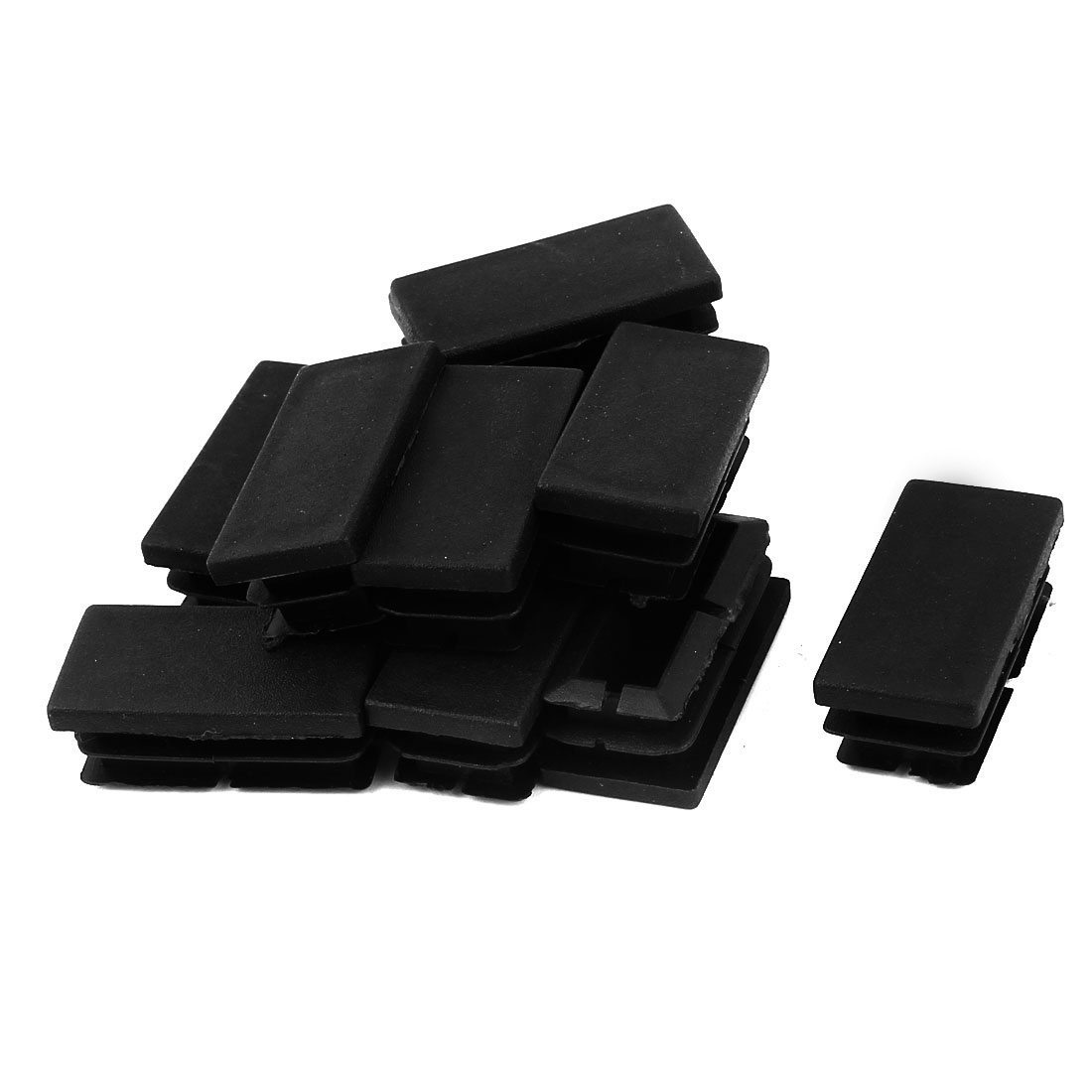 12 Pcs Black Plastic Rectangle Blanking End Caps Tubing Tube Inserts 20mm x 40mm