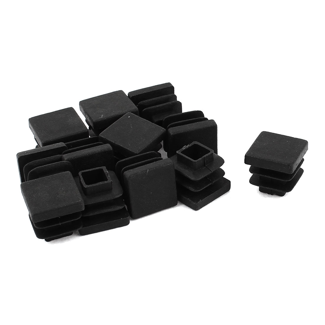 12 Pcs Black Plastic Square Blanking End Caps Tubing Tube Inserts 15mm x 15mm