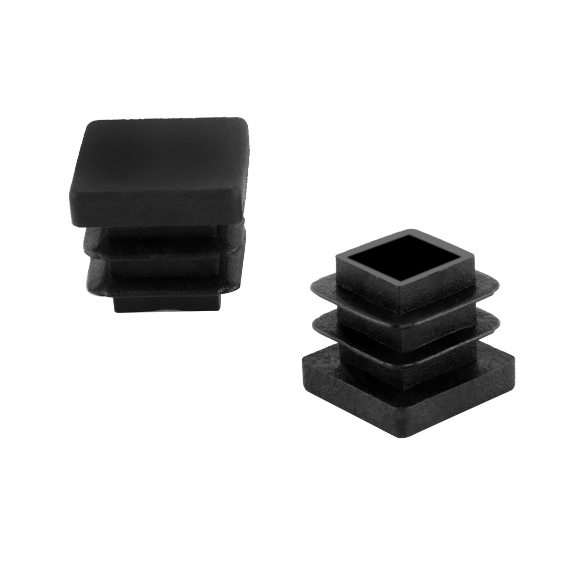 2 Pieces Black Plastic Square Blanking End Caps Tubing Tube Cover Inserts 15mm x 15mm