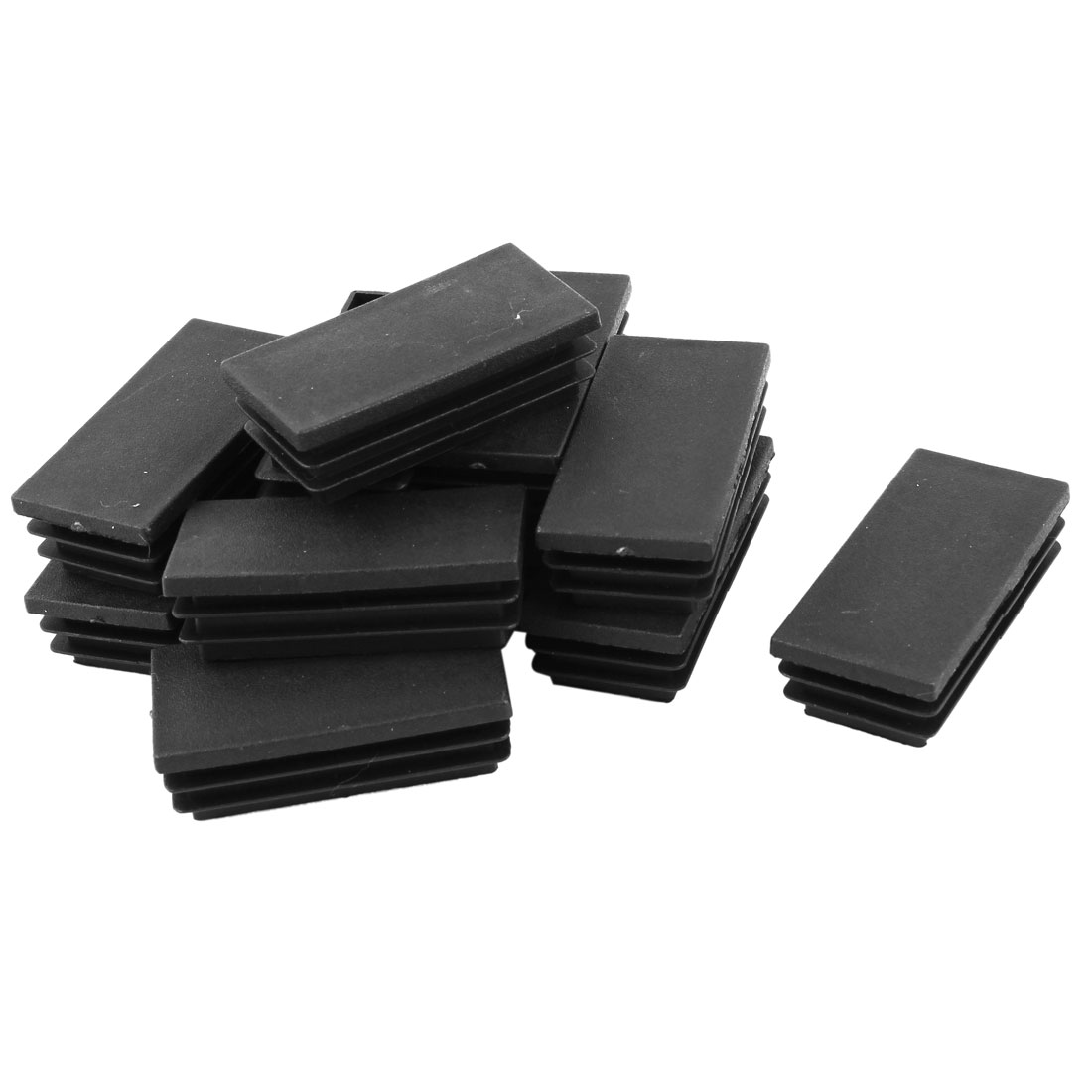 12 Pcs Black Plastic Rectangle Blanking End Caps Tubing Tube Inserts 30mm x 60mm