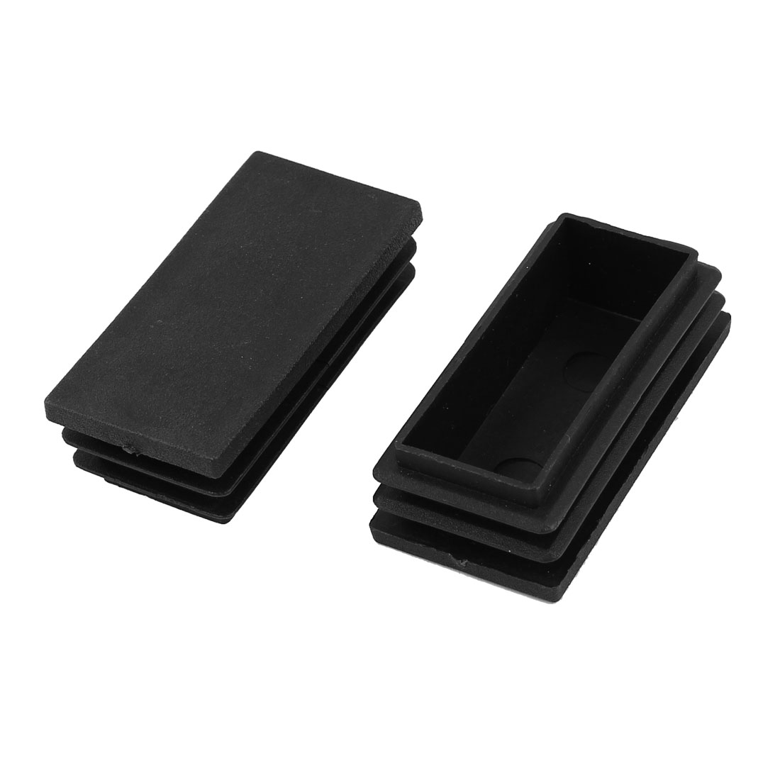 2 Pieces Black Plastic Rectangle Blanking End Caps Tubing Tube Cover Inserts 30mm x 60mm